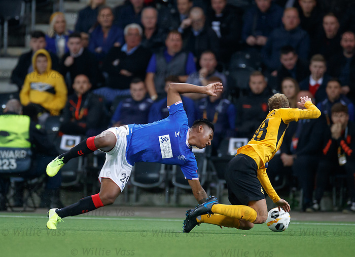 03.10.2019 Young Boys of Bern v Rangers: Alfredo Morelos booked for a clash with Fabian Lustenberger