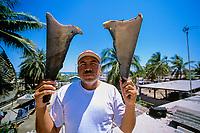 Gill net fisherman dries fins of pelagic thresher sharks, Alopias pelagicus, on roof, Huatabampo, Mexico, Sea of Cortez, Pacific Ocean