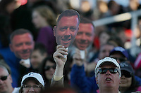 Piscataway, NJ, April 24, 2016.  Fans from Sky Blue FC showed their support for new head coach, Christy Holly, with signs sporting his face.  The Washington Spirit defeated Sky Blue FC 2-1 during a National Women's Soccer League (NWSL) match at Yurcak Field.