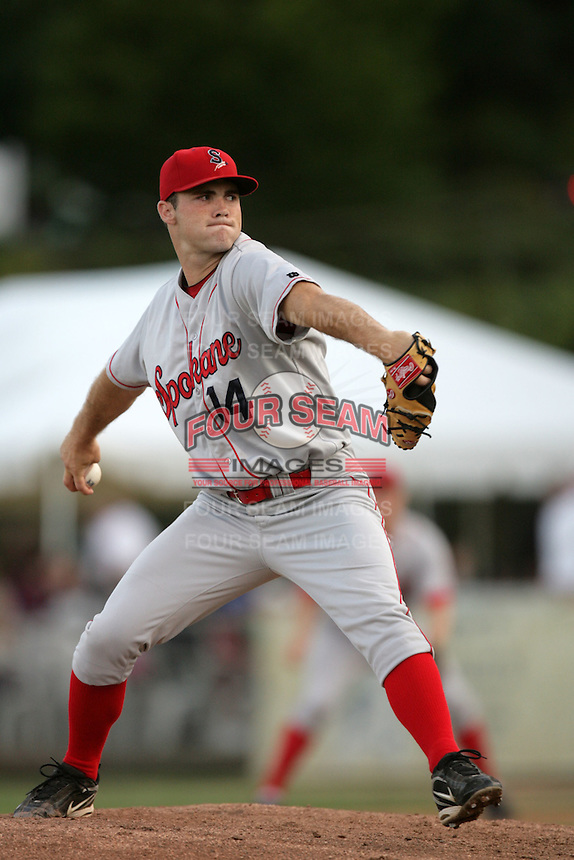 July 9 2009: Braden Tullis of the Spokane Indians during game against the Eugene Emeralds at Civic Stadium in Eugene,OR.  Photo by Larry Goren/Four Seam Images