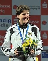European Championships Fencing 2010 / Fecht Europameisterschaft 2010 in Leipzig - Competition Championat d'europe - im Bild: Europameisterin Damen Degen / women epee Imke Duplitzer (GER). portrait Porträt Siegerehrung . Foto: Norman Rembarz..Norman Rembarz , Autorennummer 41043728 , Augustenstr. 2, 04317 Leipzig, Tel.: 01794887569, Hypovereinsbank: BLZ: 86020086, KN: 357889472, St.Nr.: 231/261/06432 - Jegliche kommerzielle Nutzung ist honorar- und mehrwertsteuerpflichtig! Persönlichkeitsrechte sind zu wahren. Es wird keine Haftung übernommen bei Verletzung von Rechten Dritter. Autoren-Nennung gem. §13 UrhGes. wird verlangt. Weitergabe an Dritte nur nach  vorheriger Absprache..
