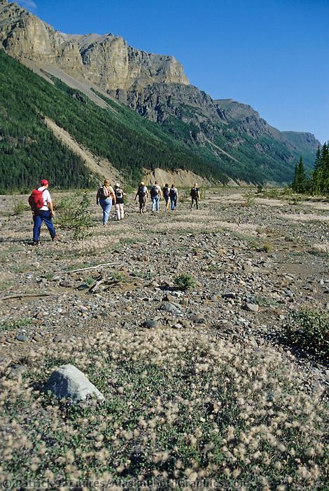 Backpacking up chitistone river, chitistone canyon, Wrangell St. Elias National Park, Alaska.