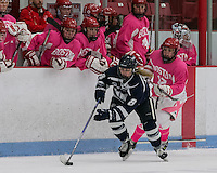 Boston, Massachusetts - February 13, 2016: NCAA Division I. Boston University (pink)) defeated University of New Hampshire (blue), 6-4, at Walter Brown Arena.