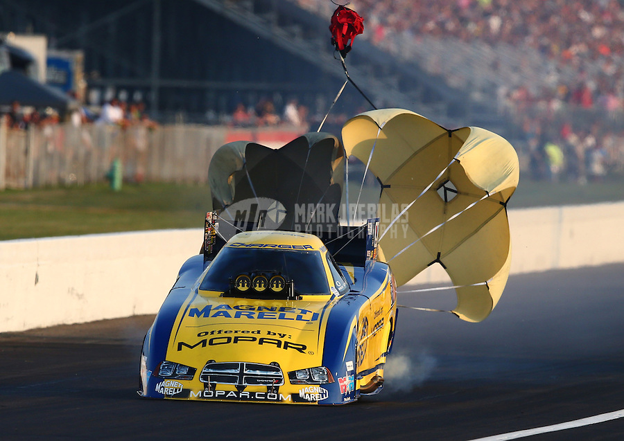 Aug. 30, 2013; Clermont, IN, USA: NHRA funny car driver Matt Hagan during qualifying for the US Nationals at Lucas Oil Raceway. Mandatory Credit: Mark J. Rebilas-