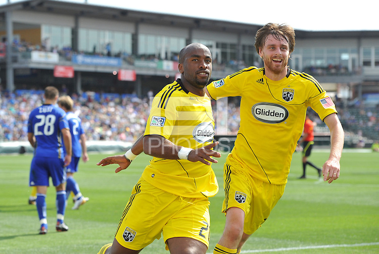 Emilo Renteria and Eddie Gaven celebrate Renteria's goal...Kansas City Wizards were defeated 1-0 by Columbus Crew at Community America Ballpark, Kansas City, Kansas.
