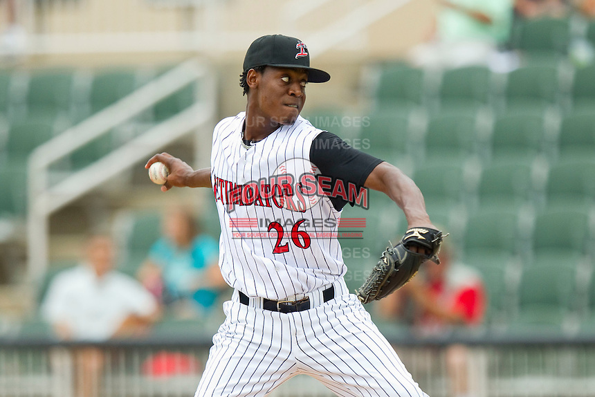 Kannapolis Intimidators starting pitcher Euclides Leyer (26) in action against the Greenville Drive at CMC-Northeast Stadium on June 30, 2013 in Kannapolis, North Carolina.  The Drive defeated the Intimidators 3-0.   (Brian Westerholt/Four Seam Images)