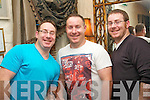 TREBLE CELEBRATIONS: Kieran, Mark and John Greensmith, Tralee, who celebrated their 33rd birthday in Cassidy's restaurant, Tralee on Sunday night last.