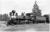 D&amp;RGW locomotive #169 on display.  The loco was built in 1883 and donated to Alamosa in 1938.<br /> D&amp;RGW    Taken by Payne, Andy M. - 8/22/1954