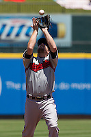 Nashville Sounds shortstop Blake Davis (2) catches a pop up against the Round Rock Express in the Pacific Coast League baseball game on May 5, 2013 at the Dell Diamond in Round Rock, Texas. Round Rock defeated Nashville 5-1. (Andrew Woolley/Four Seam Images).