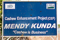 Cashew Nut Sign, Erected by U.S. Department of Agriculture and International Relief and Development (IRD), a Non-Profit NGO. Mendy Kunda, North Bank Region, The Gambia
