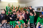 Killarney Celtic team celebrate in the dressing rooms after defeating Jamesboro