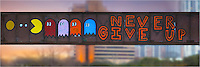 This graffiti that was painted on the railroad that spans Lady Bird Lake offers a great message. This image of street art comes from Austin, Texas, around the Zilker Park area. The pano is comprised of several images stitched together.