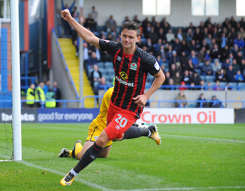 Blackburn Rovers' Marcus Antonsson celebrates scoring his side's second goal <br /> <br /> Photographer Kevin Barnes/CameraSport<br /> <br /> The EFL Sky Bet League One - Rochdale v Blackburn Rovers - Saturday 9th September 2017 - Spotland Stadium - Rochdale<br /> <br /> World Copyright &copy; 2017 CameraSport. All rights reserved. 43 Linden Ave. Countesthorpe. Leicester. England. LE8 5PG - Tel: +44 (0) 116 277 4147 - admin@camerasport.com - www.camerasport.com