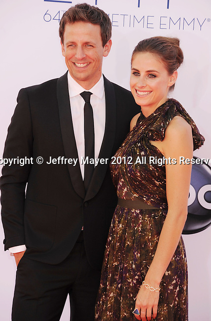 LOS ANGELES, CA - SEPTEMBER 23: Seth Meyers and Alexi Ashe. arrive at the 64th Primetime Emmy Awards at Nokia Theatre L.A. Live on September 23, 2012 in Los Angeles, California.
