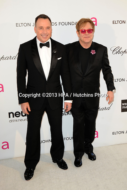 LOS ANGELES - FEB 24:  David Furnish, Elton John arrives at the Elton John Aids Foundation 21st Academy Awards Viewing Party at the West Hollywood Park on February 24, 2013 in West Hollywood, CA