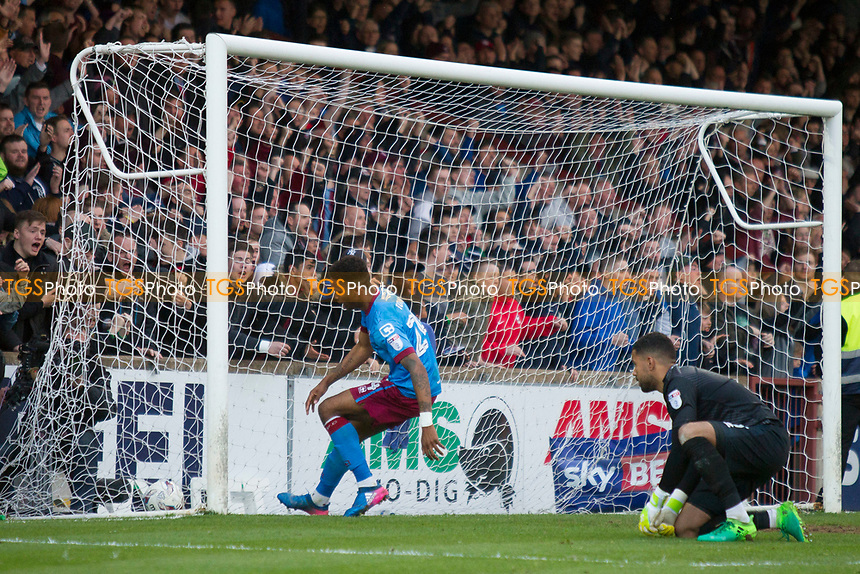 Toney digs out the second Scunthorpe goal during Scunthorpe United vs Millwall, Sky Bet EFL League 1 Play-Off Football at Glanford Park on 7th May 2017