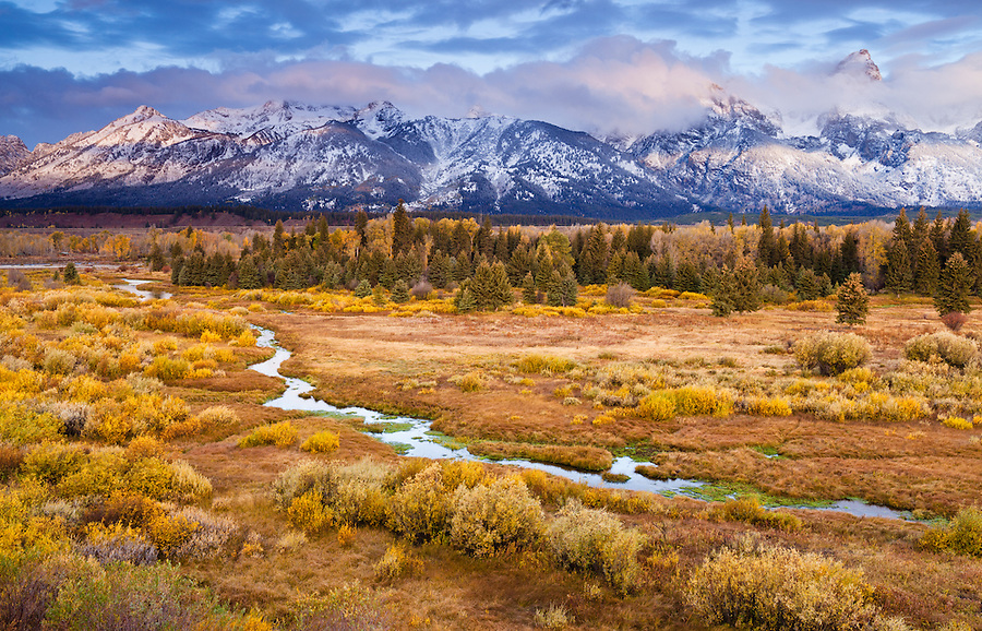 Fall colors dominate a scene with a small stream near the blacktail ponds overlook in Grand Teton National Park, Wyoming.