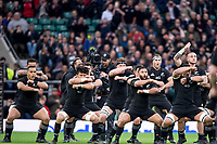 Twickenham, Surrey. England.  All Blacks, issue the Maori Challenge &quot;Haka&quot;   during the Killik Cup, Barbarians vs New Zealand. Twickenham. UK<br /> <br /> Saturday  04.11.17<br /> <br /> [Mandatory Credit Peter SPURRIER/Intersport Images]