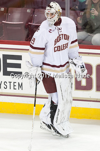Ian Milosz (BC - 29) - The visiting Merrimack College Warriors defeated the Boston College Eagles 6 - 3 (EN) on Friday, February 10, 2017, at Kelley Rink in Conte Forum in Chestnut Hill, Massachusetts.