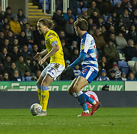 Leeds United's Luke Ayling (left) under pressure from Reading's John Swift (right) <br /> <br /> Photographer David Horton/CameraSport<br /> <br /> The EFL Sky Bet Championship - Reading v Leeds United - Tuesday 12th March 2019 - Madejski Stadium - Reading<br /> <br /> World Copyright &copy; 2019 CameraSport. All rights reserved. 43 Linden Ave. Countesthorpe. Leicester. England. LE8 5PG - Tel: +44 (0) 116 277 4147 - admin@camerasport.com - www.camerasport.com
