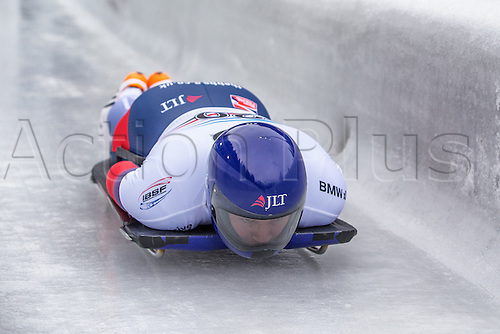 February 24th 2017,  Berchtesgaden - Konigssee, Germany; Action from the Men's Skeleton Runs 1 and 2, Jack THOMAS GBR