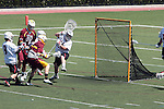 Orange, CA 05/02/10 - Tyler Westfall (ASU # 7) opens the score with this shot against Matt Sathrum (Chapman # 16), while Eric Baril (Chapman # 27) closes in on Westfall during the Chapman-Arizona State MCLA SLC Division I final at Wilson Field on Chapman University's campus.  Arizona State defeated Chapman 13-12 in overtime.