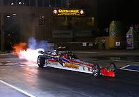 Jul. 18, 2014; Morrison, CO, USA; NHRA jet car driver during qualifying for the Mile High Nationals at Bandimere Speedway. Mandatory Credit: Mark J. Rebilas-