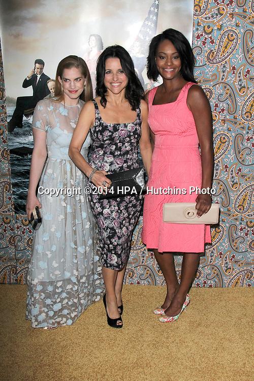 """LOS ANGELES - MAR 24:  Julia Louis-Dreyfus, Anna Chlumsky, Sufe Bradshaw at the """"VEEP"""" Season 3 LA Premiere at Paramount Studios on March 24, 2014 in Los Angeles, CA"""