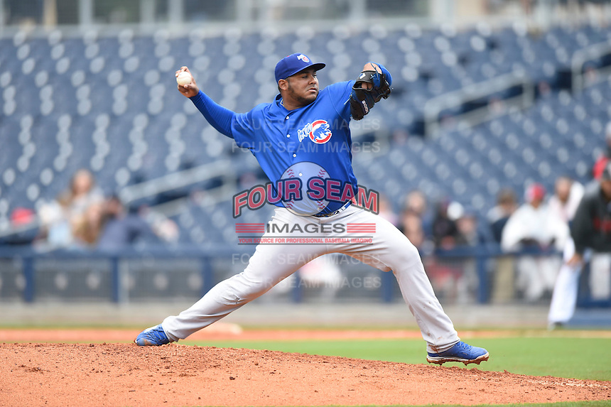***Temporary Unedited Reference File***Iowa Cubs relief pitcher Jean Machi (47) during a game against the Nashville Sounds on May 4, 2016 at First Tennessee Park in Nashville, Tennessee.  Iowa defeated Nashville 8-4.  (Mike Janes/Four Seam Images)