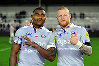 Semesa Rokoduguni and Tom Homer of Bath Rugby pose for a photo after the match. Aviva Premiership match, between Exeter Chiefs and Bath Rugby on October 30, 2016 at Sandy Park in Exeter, England. Photo by: Patrick Khachfe / Onside Images