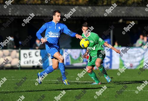 2013-11-10 / Voetbal / seizoen 2013-2014 / Vosselaar - Tienen / Lander Keersmaekers (l. Vosselaar) met Pieter Kempeneers<br /><br />Foto: Mpics.be