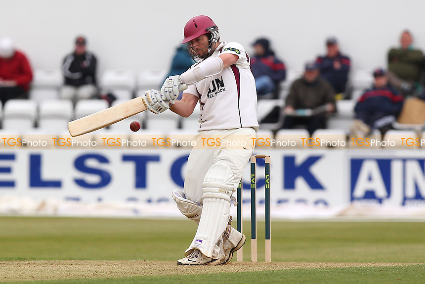 Steven Crook hits four runs for Northants - Northamptonshire CCC vs Essex CCC - LV County Championship Division Two Cricket at the County Ground, Northampton - 18/04/13 - MANDATORY CREDIT: Gavin Ellis/TGSPHOTO - Self billing applies where appropriate - 0845 094 6026 - contact@tgsphoto.co.uk - NO UNPAID USE.