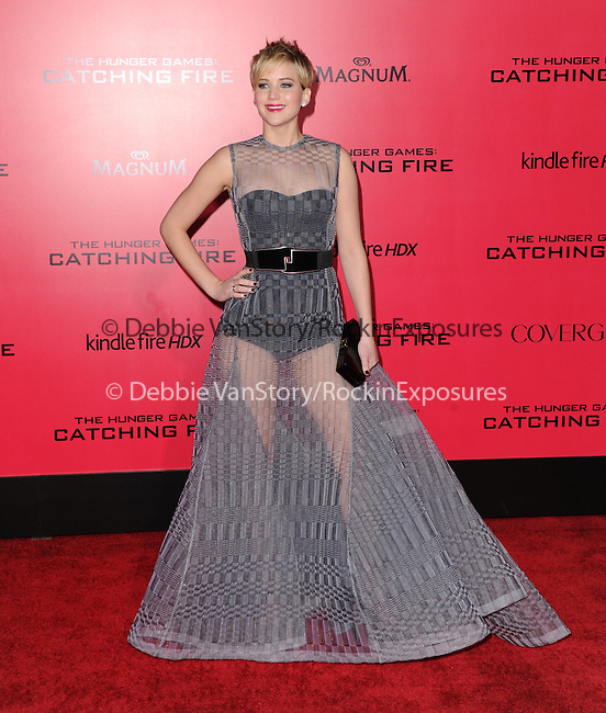 LOS ANGELES, CA - NOVEMBER 18: Jennifer Lawrence arrives at   THE HUNGER GAMES: CATCHING FIRE L.A. Premiere held at Nokia Live  in Los Angeles, California on November 18,2012                                                                               © 2013  Hollywood Press Agency