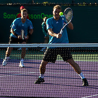 Mariusz FYRSTENBERG (POL) & Marcin MATKOWSKI (POL) against Bon BRYAN (USA) & Mike BRYAN (USA) in the Quarter Finals of the men's doubles. Fyrstenberg & Matkowski beat Bryan & Bryan 6-2 6-2..International Tennis - 2010 ATP World Tour - Sony Ericsson Open - Crandon Park Tennis Center - Key Biscayne - Miami - Florida - USA - Wed 31st Mar 2010..© Frey - Amn Images, Level 1, Barry House, 20-22 Worple Road, London, SW19 4DH, UK .Tel - +44 20 8947 0100.Fax -+44 20 8947 0117