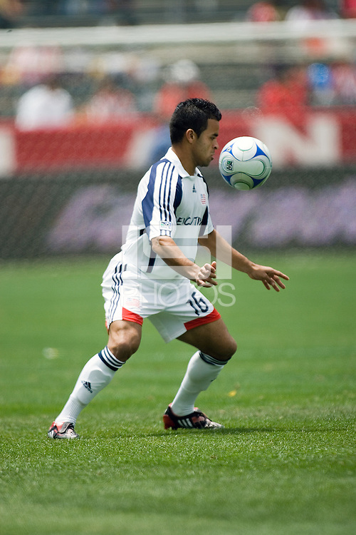 New England Revolution midfielder Mauricio Castro (16) traps a ball during a MLS game. The New England Revolution defeated the Chivas USA 2-1 at Home Depot Center Stadium, in Carson, Calif., on Sunday, May 11, 2008.