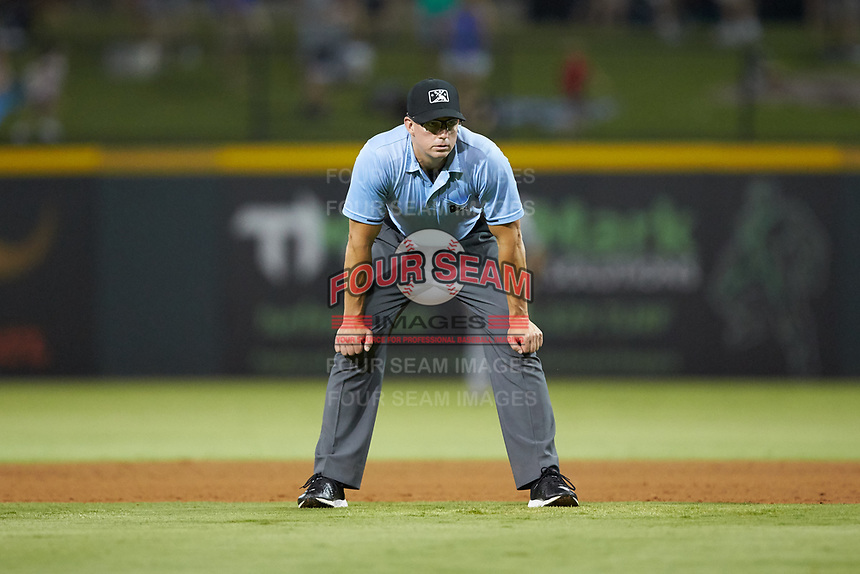 First base umpire Shane Livensparger works the International League game between the Scranton/Wilkes-Barre RailRiders and the Gwinnett Stripers at BB&T BallPark on August 16, 2019 in Lawrenceville, Georgia. The Stripers defeated the RailRiders 5-2. (Brian Westerholt/Four Seam Images)