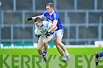 Laune Rangers Danny O'Sullivan is put under pressure from Kerins O'Rahillys Ross O'Callaghan during their Senior Club Championship semi final clash in Fitzgerald Stadium on Saturday