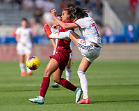 FRISCO, TX - MARCH 11: Nikita Parris #7 of England has the ball cleared away from her by Leila Ouahabi #15 of Spain during a game between England and Spain at Toyota Stadium on March 11, 2020 in Frisco, Texas.