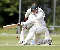 Jack Brydon bats for Shepherds Bush during the Middlesex County Cricket League Division Two game between Harrow St Mary's and Shepherds Bush at<br /> Harrow on Sat July 19, 2014