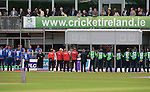 Meeting the President of Ireland, Michael D.Higgins at the Ireland v England One Day Cricket International held at Malahide Cricket Club, Dublin, Ireland. 8th May 2015.<br /> Photo: Joe Curtis/www.newsfile.ie