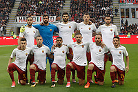 Calcio, Serie A: Milano, stadio Giuseppe Meazza (San Siro), 1 ottobre 2017.<br /> AS Roma's players pose for the pre match photograph prior to the start of the Italian Serie A football match between Milan and AS Roma at Milan's Giuseppe Meazza (San Siro) stadium, October 1, 2017.<br /> UPDATE IMAGES PRESS/IsabellaBonotto