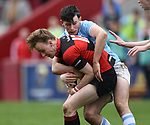 David Mescall of Ennis  in action against Harry Byrne of Garryowen during their U-18 Munster Club Final at Thomond Park. Photograph by John Kelly.
