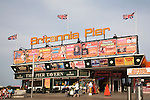 Britannia Pier entrance with adverts for theatre shows, Great Yarmouth, Norfolk, England