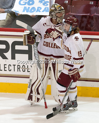 Katie Burt (BC - 33), Makenna Newkirk (BC - 19) - The Boston College Eagles defeated the visiting UConn Huskies 4-0 on Friday, October 30, 2015, at Kelley Rink in Conte Forum in Chestnut Hill, Massachusetts.