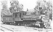 3/4 view of RGS 2-8-0 #42 at West Durango terminal.<br /> RGS  West Durango, CO  Taken by Best, Gerald M. - 7/4/1937