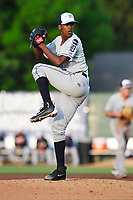 West Michigan Whitecaps starting pitcher Anthony Castro (15) throws during a game against the Burlington Bees at Community Field on May 11, 2017 in Burlington, Iowa.  The Whitecaps won 10-3.  (Dennis Hubbard/Four Seam Images)