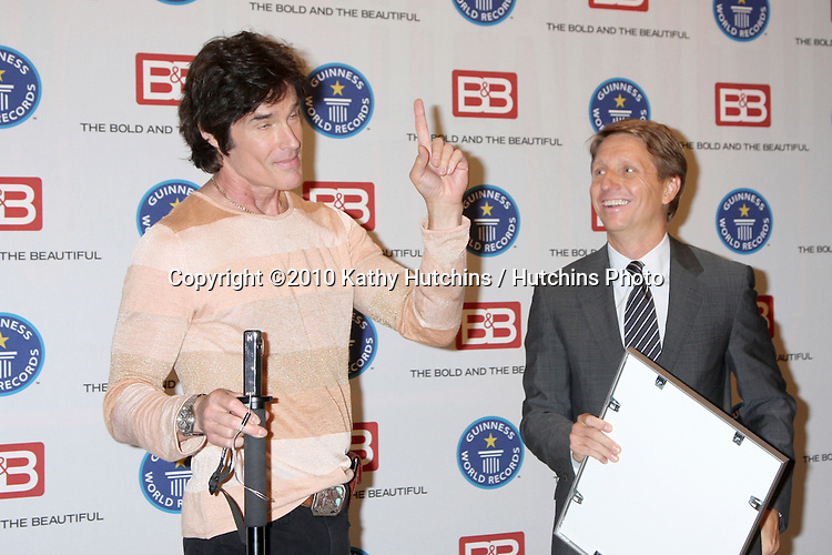 """Ronn Moss & Brad Bell.Guinness World Records®  presents THE BOLD AND THE BEAUTIFUL with the certification as the  """"Most Popular Daytime TV Soap - Current..Bold & Beautiful Set, Stage 31, CBS Televsion CIty.Los Angeles, CA.May 18, 2010.©2010 Kathy Hutchins / Hutchins Photo.."""