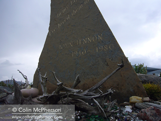 A memorial stone in the John Lennon memorial garden at Durness, Sutherland on Scotland's north coast. Local people established the tribute to the murdered Beatles musician and inaugurated an annual music festival in his honour. The village of Durness had a population of around 400 and was situated in one of the most sparsely-populated areas of Europe.