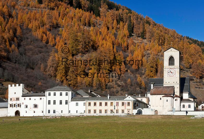 Schweiz, Graubuenden, Muenstertal, Muenster: Benediktinerkloster St. Johann (UNESCO Weltkulturerbe) | Switzerland, Graubuenden, Muenster Valley, Muestair: monastery St. Johann (UNESCO world heritage)
