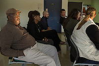 From left: William Dickens from Healing Transitions (CQ) wait to go on a tour of Central Prison in Raleigh, NC on Thursday, November 17, 2016. (Justin Cook)